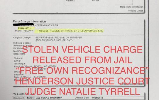"STOLEN VEHICLE - ""O.R."" RELEASE JUDGE NATALIE TYRRELL"