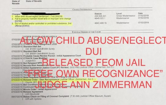 "ALLOW CHILD ABUSE/NEGLECT & DUI - ""O.R."" RELEASE JUDGE ANN ZIMMERMAN"