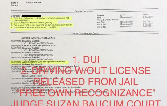 "DUI + DRIVING W/OUT VALID DL - ""O.R."" RELEASE JUDGE SUZAN BAUCUM"