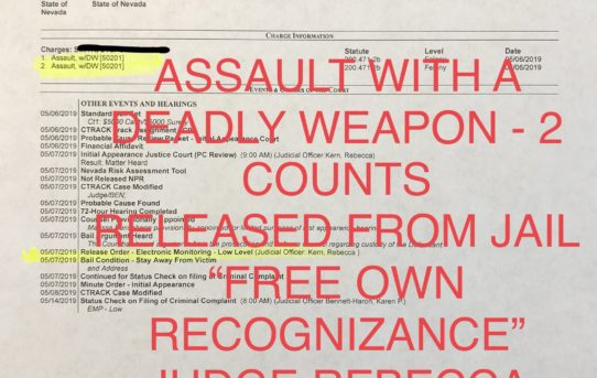 "ASSAULT WITH A DEADLY WEAPON 2X - ""O.R."" RELEASE JUDGE REBECCA KERN"