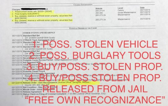 "POSS. STOLEN VEHICLE & POSS. BURGLARY TOOLS & BUY/POSS. STOLEN PROPERTY 2X - ""O.R."" RELEASE JUDGE MELISSA SARAGOSA"