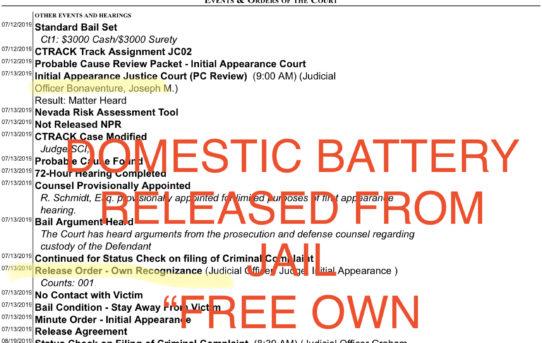 "DOMESTIC BATTERY - ""O.R."" RELEASE JUDGE JOSEPH BONAVENTURE"