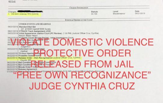 "VIOLATE DOM. VIOLENCE PROTECTIVE ORDER - ""O.R."" RELEASE JUDGE CYNTHIA CRUZ"