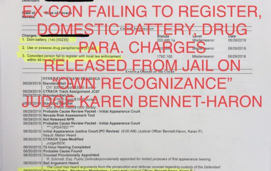 "EX-FELON FAIL TO REGISTER, DOMESTIC BATTERY - ""O.R."" RELEASE.  JUDGE BENNETT-HARON"