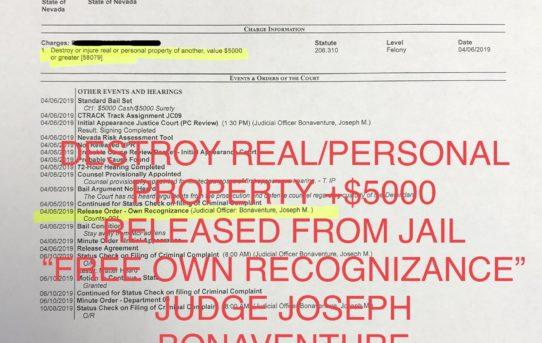 "DESTROY REAL/PERS. PROPERTY +$5000 - ""O.R."" RELEASE JUDGE JOSEPH BONAVENTURE"