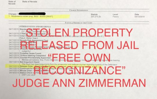 "STOLEN PROPERTY - ""O.R."" RELEASE JUDGE ANN ZIMMERMAN"