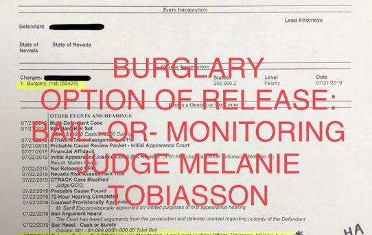 "BURGLARY - ""BAIL -OR- MONITORED"" RELEASE - JUDGE MELANIE TOBIASSON"