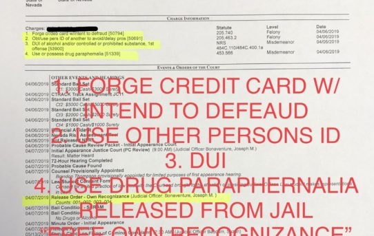 """FORGE CREDIT CARD W/INT. DEFRAUD+USE OTHER PERS. ID+DUI - """"O.R."""" RELEASE JUDGE JOSEPH BONAVENTURE"""
