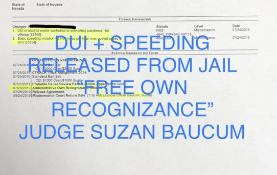 "DUI + SPEEDING - ""O.R."" RELEASE JUDGE SUZAN BAUCUM"