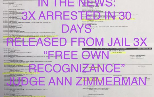 "IN THE NEWS: ARRESTED 3X IN 30 DAYS - ""O.R."" RELEASE JUDGE ANN ZIMMERMAN"