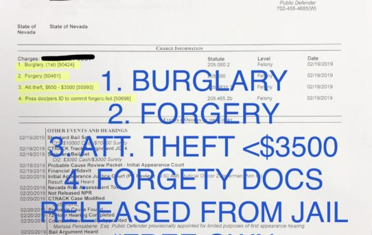 "BURGLARY+FORGERY+ATT. THEFT <$3500+FORGE ID - ""O.R."" RELEASE JUDGE ANN ZIMMERMAN"