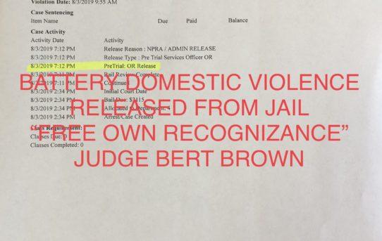 "BATTERY DOMESTIC VIOLENCE - ""O.R."" RELEASE JUDGE BERT BROWN"