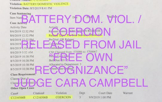 """BATTERY DOMESTIC VIOLENCE - """"O.R."""" RELEASE JUDGE CARA CAMPBELL"""