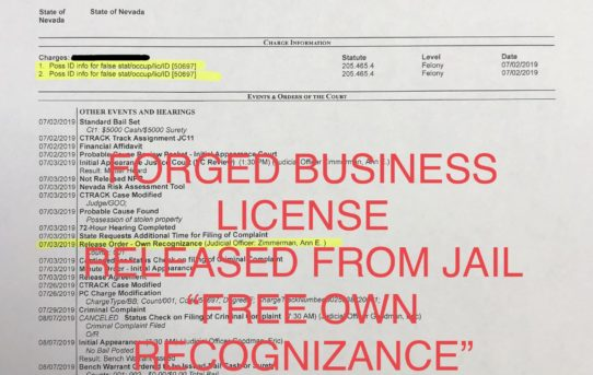 """FORGED BUS. LICENSE - """"O.R."""" RELEASE JUDGE ANN ZIMMERMAN"""