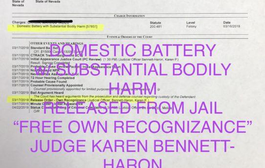 """DOM. BATT. w/SUBSTANTIAL BODILY HARM - """"O.R."""" RELEASE JUDGE BENNETT-HARON"""
