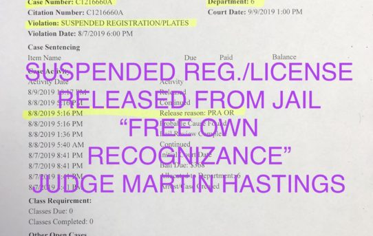 "SUSPENDED REG./. LICENSE - ""O.R."" RELEASE JUDGE MARTIN HASTINGS"