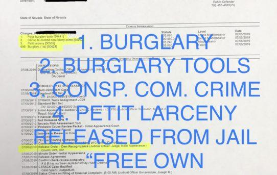 "BURGLARY + 3 CHARGES - ""O.R."" RELEASE JUDGE MELANIE TOBIASSON"