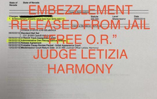 """EMBEZZLEMENT - """"O.R."""" RELEASE JUDGE LETIZIA HARMONY"""