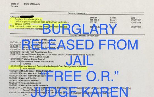 """BURGLARY - """"O.R."""" RELEASE JUDGE KAREN BENNETT-HARON"""