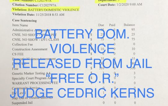 "BATTERY/ DOM. VIOLENCE - ""O.R."" RELEASE JUDGE CEDRIC KERNS"