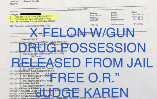 """X-FELON W/GUN + DRUG POSS. - """"O.R."""" RELEASE JUDGE KAREN BENNETT-HARON"""
