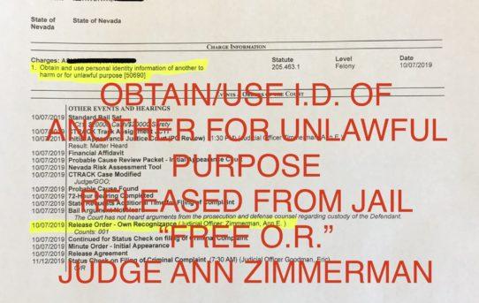 "ID THEFT - ""O.R."" RELEASE JUDGE ANN ZIMMERMAN"