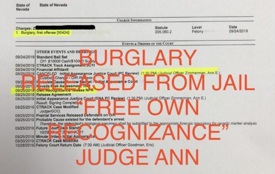 "BURGLARY - ""O.R."" RELEASE JUDGE ANN ZIMMERMAN"