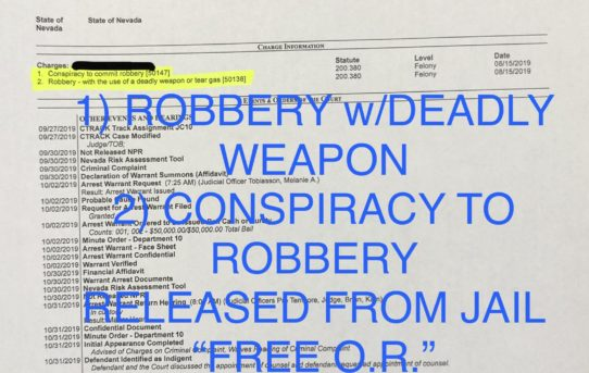 "ROBBERY w/DEADLY WEAPON - ""O.R."" RELEASE JUDGE MELANIE TOBIASSON"