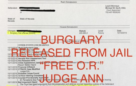 "BURGLARY - ""O.R."" RELEASE JUDGE ANN ZIMMERMAN."
