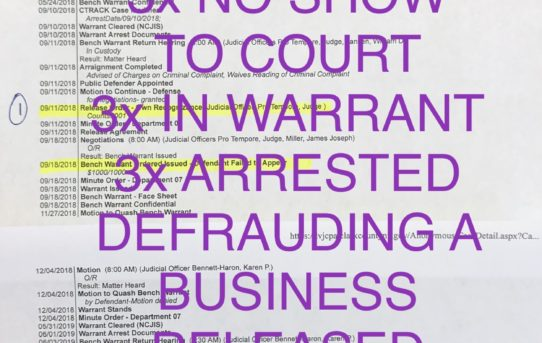 "3x IN WARRANT ON DEFRAUDING PROPRIETOR - ""O.R."" RELEASE JUDGE KAREN BENNETT-HARON"