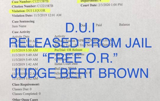 "DUI - ""FREE O.R."" RELEASE JUDGE BERT BROWN"