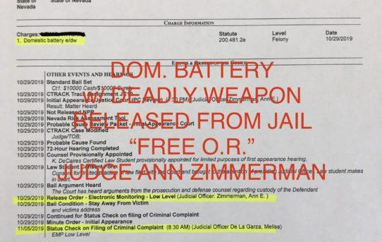 """DOM. BATTERY w/DEADLY WEAPON - """"O.R."""" RELEASE JUDGE ANN ZIMMERMAN."""