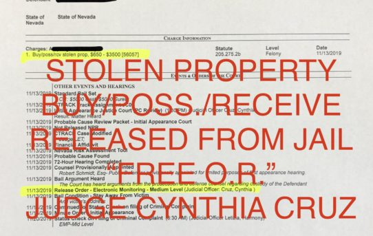 "STOLEN PROPERTY - ""O.R."" RELEASE JUDGE CYNTHIA CRUZ"