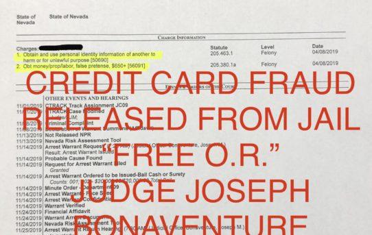 """CREDIT CARD FRAUD - """"O.R."""" RELEASE JUDGE JOSEPH BONAVENTURE"""