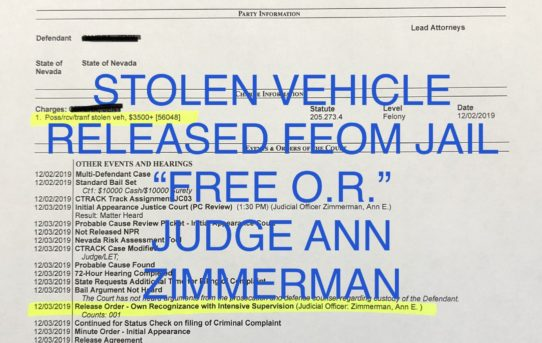 "STOLEN VEHICLE - ""O.R."" RELEASE JUDGE ANN ZIMMERMAN"
