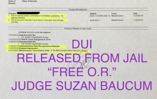 """DUI - """"O.R."""" RELEASE JUDGE SUZAN BAUCUM"""