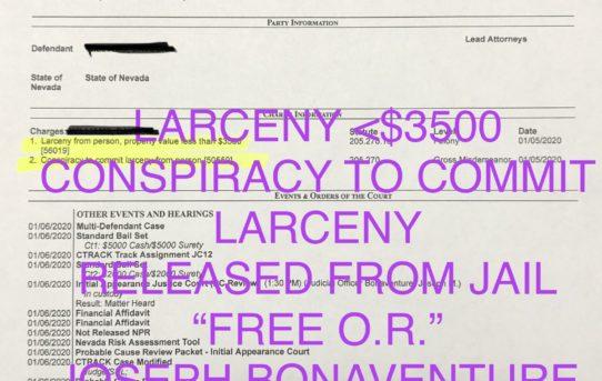 "LARCENY <$3500 + CONSPIRACY LARCENY - ""O.R."" RELEASE JUDGE JOSEPH BONAVENTURE"