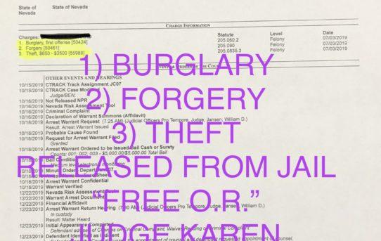 """BURGLARY+FORGERY+THEFT - """"O.R."""" RELEASE JUDGE KAREN BENNETT-HARON"""