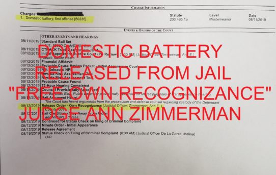 "DOMESTIC BATTERY - ""O.R."" RELEASE JUDGE ANN ZIMMERMAN"